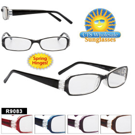 Plastic Reading Glasses - R9083 Spring Hinge! (12 pcs.) Assorted Colors ~ Lens Strengths +1.00—+3.50