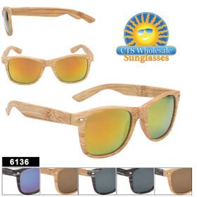 Bulk Classic Sunglasses - Style #6136 Faux Wood! (Assorted Colors) (12 pcs.)