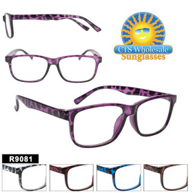 Bulk Plastic Reading Glasses - R9081 (12 pcs.) Assorted Colors ~ Lens Strengths +1.00—+3.50