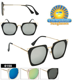 Retro Mirrored Women's Sunglasses - Style #6150 (Assorted Colors) (12 pcs.)