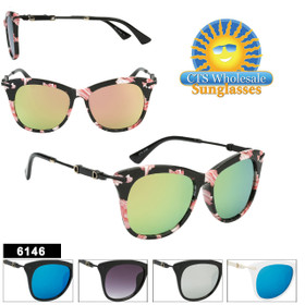 Wholesale Mirrored Retro Fashion Sunglasses - Style #6146 (Assorted Colors) (12 pcs.)