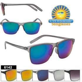 Bulk Mirrored Sunglasses - Style #6142 (Assorted Colors) (12 pcs.)