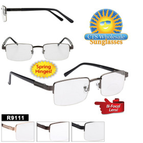 Wholesale Bi-Focal Reading Glasses - R9111 Spring Hinges! (12 pcs.) Assorted Colors ~ Lens Strengths +1.00—+3.50