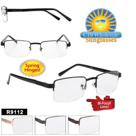 Wholesale Bi-Focal Readers - R9112 Spring Hinges (12 pcs.) Assorted Colors ~ Lens Strengths +1.00—+3.50