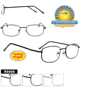 Metal Readers Wholesale - R9098 Spring Hinge Temples (12 pcs.) Assorted Colors ~ Lens Strengths +1.00—+3.50