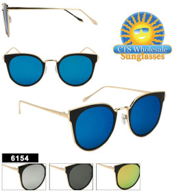 Women's Retro Sunglasses Wholesale - Style #6154 (Assorted Colors) (12 pcs.)