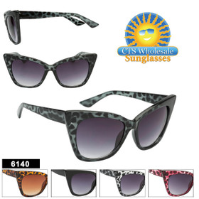 Retro Cat-Eye Wholesale Sunglasses - Style #6140 (Assorted Colors) (12 pcs.)