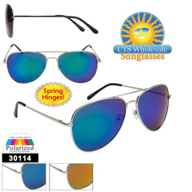 Mirrored Wholesale Polarized Aviators  - Style #30114 Spring Hinges! (Assorted Colors) (12 pcs.)