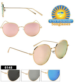 Wholesale Mirrored Aviators  - Style #6148 (Assorted Colors) (12 pcs.)