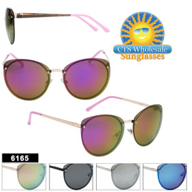 Women's Mirrored Sunglasses in Bulk  - Style #6165 (Assorted Colors) (12 pcs.)