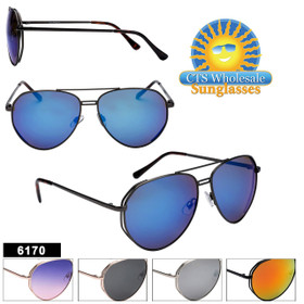 Mirrored Aviators in Bulk - Style #6170 (Assorted Colors) (12 pcs.)