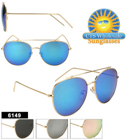 Wholesale Aviator Sunglasses - Style #6149 (Assorted Colors) (12 pcs.)