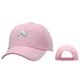 Pink Win Jesus in Your Heart | Christian Baseball Caps