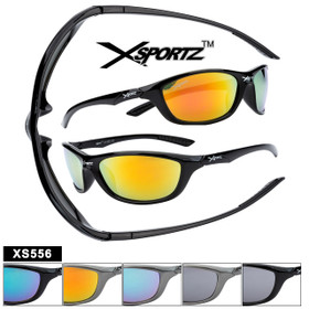 Xsportz Plastic Sports Sunglasses XS556 (Assorted Colors) (12 pcs.)