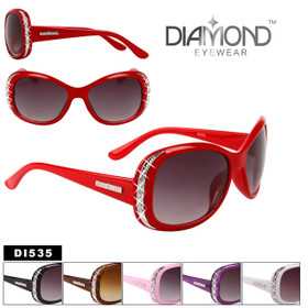 Bulk Rhinestone Sunglasses - Style #DI535 (Assorted Colors) (12 pcs.)