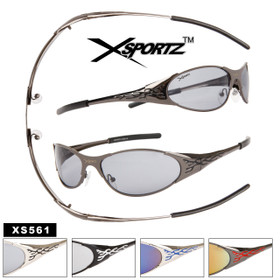 Xsportz™ Wholesale Sport Sunglasses with Spring Hinges - Style # XS561 Flame Design Temples! (Assorted Colors) (12 pcs.)