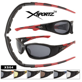 Xsportz Perfect Sports Sunglasses with Foam Padded Interior! XS64 (Assorted Colors) (12 pcs.)