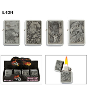 Oil Lighters Assorted Eagles ~ Lighter Fluid NOT Included L121 (12 pcs.)