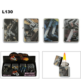 Polished Chrome Oil Lighters with Assorted Handguns
