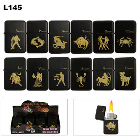 Oil Lighters Zodiac Symbol(s) ~ Lighter Fluid NOT Included L145 (12 pcs.)