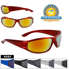 Men's Sports Style Bulk Sunglasses - Style #9065 (Assorted Colors) (12pcs.)