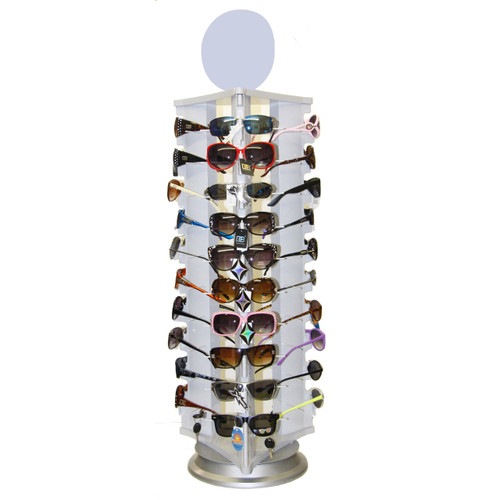 Locking Sunglass Display   Rotating Counter Top Model 7044   Holds 30 Pair All White