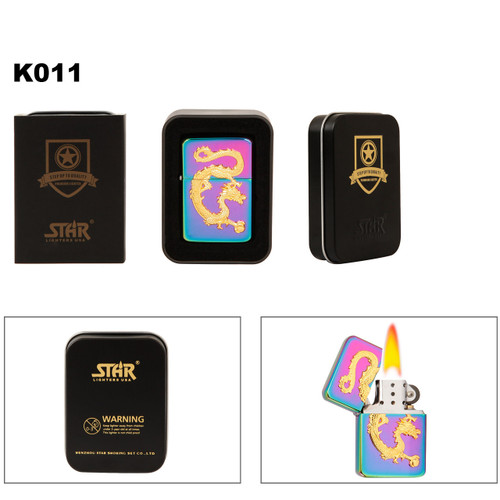 Tri-Colored Lighter with Gold Chinese Dragon Emblem K011