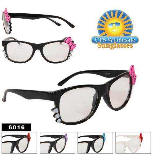 Wholesale Clear Sunglasses 6016 (12 pcs.) Kitty Whiskers & Bows!