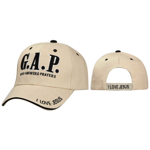 Wholesale Baseball Cap ~ G.A.P. God Answers Prayers ~  Beige
