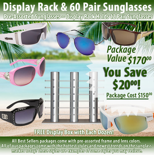 Package Deal ~ 1 Sunglass Rack & 60 Pair Assorted Sunglasses SPA16