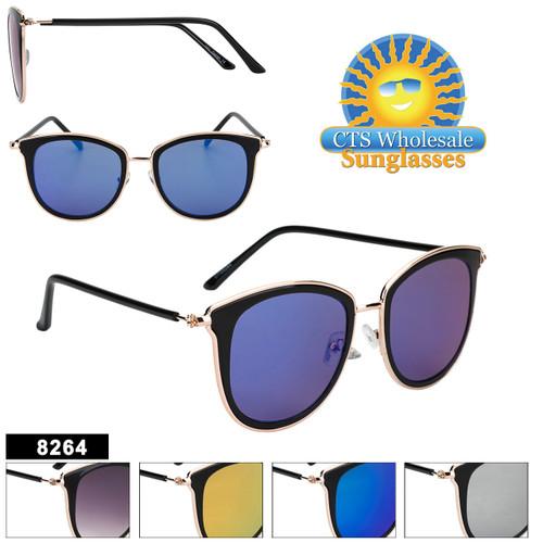 Mirrored Women's Retro Sunglasses - Style #8264 (Assorted Colors) (12 pcs.)