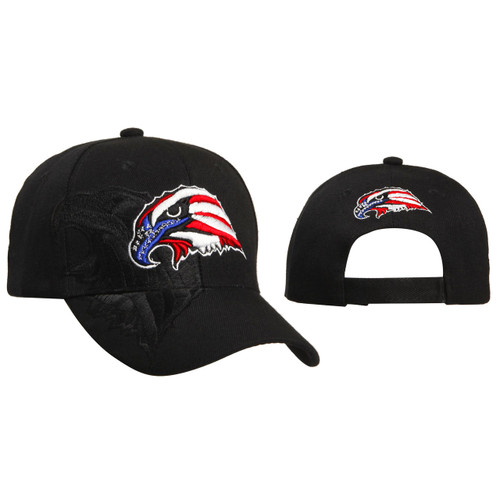 Baseball Cap Patriotic Eagle Head Black