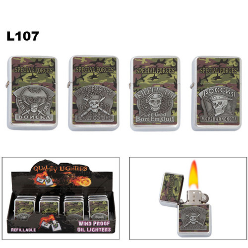 """Lighters Wholesale with camouflage and assorted """"Special Forces"""" emblems."""