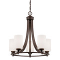 Millennium Lighting 7255-RBZ Bristo Etched White Chandelier in Rubbed Bronze