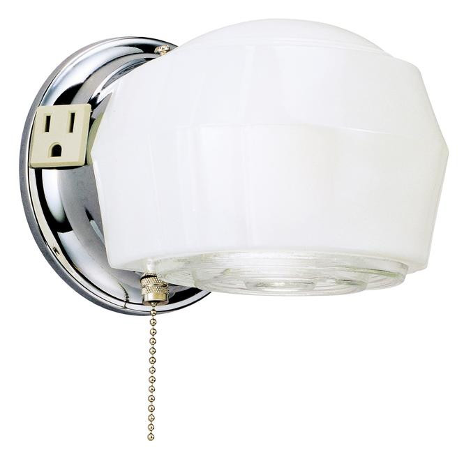 Westinghouse 6640200 One Light Indoor Wall Fixture With Ground Convenience And Pull Chain