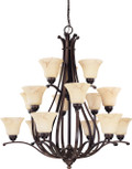 "NUVO Lighting 60/1404 Anastasia 15 Light 3 Tier 38"" Chandelier with Honey Marble Glass"