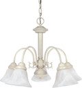"""NUVO Lighting 60/187 Ballerina 5 Light 24"""" Chandelier with Alabaster Glass Bell Shades"""