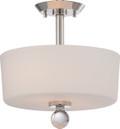 NUVO Lighting 60/5497 Connie 2 Light Semi Flushmount with Satin White Glass