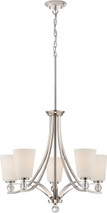 NUVO Lighting 60/5495 Connie 5 Light Chandelier with Satin White Glass