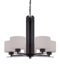 NUVO Lighting 60/5305 Parallel 5 Light Chandelier with Etched Opal Glass