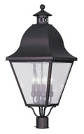 LIVEX Lighting 2548-07 Amwell Outdoor Post Lantern in Bronze (4 Light)