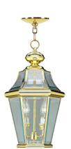 LIVEX Lighting 2265-02 Georgetown Outdoor Chain Lantern in Polished Brass (2 Light)
