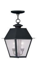 LIVEX Lighting 2167-04 Mansfield Outdoor Chain Lantern in Black (2 Light)