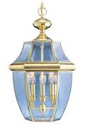 LIVEX Lighting 2355-02 Monterey Outdoor Chain Lantern in Polished Brass (3 Light)