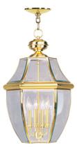 LIVEX Lighting 2357-02 Monterey Outdoor Chain Lantern in Polished Brass (4 Light)