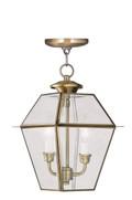 LIVEX Lighting 2285-01 Westover Outdoor Chain Lantern in Antique Brass (2 Light)