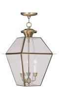 LIVEX Lighting 2385-01 Westover Outdoor Chain Lantern in Antique Brass (3 Light)