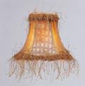 LIVEX Lighting S109 Gold Panel Silk Bell Clip Shade with Corn Silk Fringe