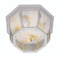 """Angelus 6.5"""" Outdoor White Traditional Flushmount Lantern with Clear Beveled Glass"""