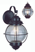 """Catalina 13.5"""" Outdoor Rustic Bronze Nautical Wall Lantern with Round Seeded Glass Design"""